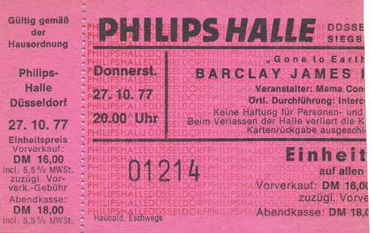 Barclay James Harvest - Philipshalle, Düsseldorf, October 27, 1977 [Germany] - Ticket Stub