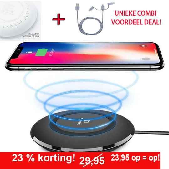 COMBI VOORDEEL! Alles in 1 oplossing: Wireless Charger / draadloze oplader + USB 3 in 1 Lader - Smart-phone - IPHONE- Tablet -IPad - Micro USB - USB C 2.0 -    Laad al uw aparaten!