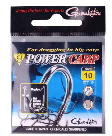 GAMAKATSU POWERCARP EYED HOOKS BLACK