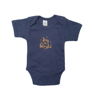 Joy To The World | Gold Glitters on Navy Romper