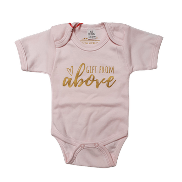 Gift From Above | Gold on Pink Romper