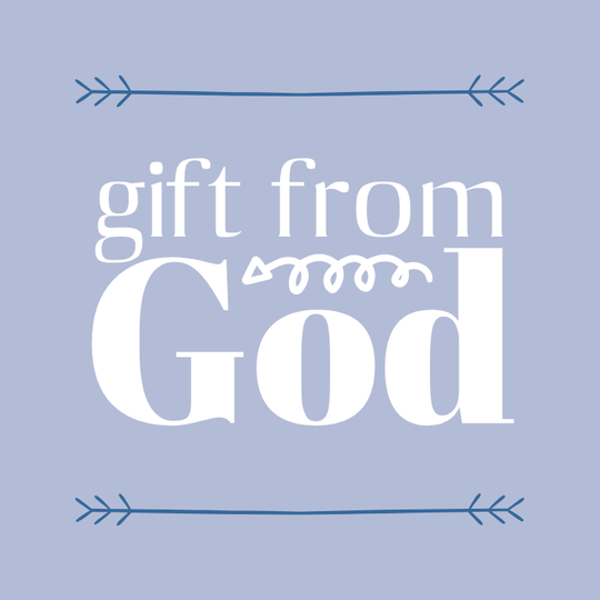 Gift From God // blue/blauw // 10 x 10 cm