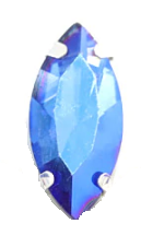 Glass Navette 15x7mm Light Sapphire AB