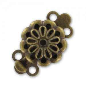 2 strands clasp 14x9mm Bronze tone