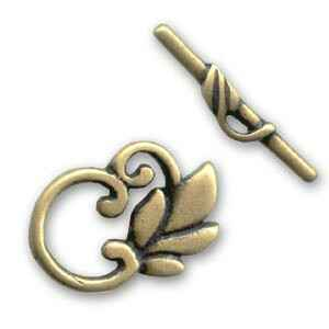 Toggle clasp Leaf 24mm Bronze tone