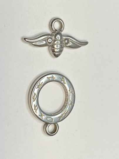 Toggle Clasp Bumble Bee 16mm Silver Tone