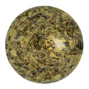 Round glass cabochon by Puca® 25 mm / Metallic Mat Old Gold Spotted