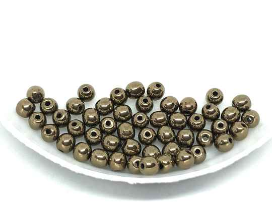 Round Beads Glass 3mm Jet Gold