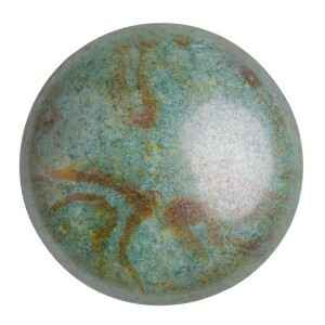 Round glass cabochon by Puca® 25 mm / Opaque Green Grey Marble Ceramic Look