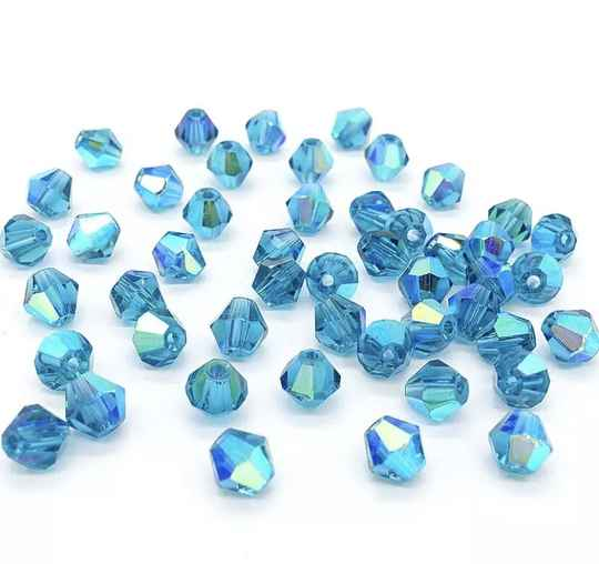 Glass Bicone 3mm Blue Zircon