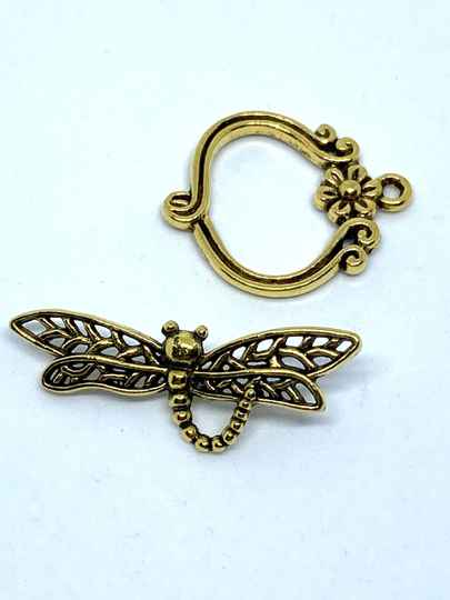 Toggle Clasp Dragonfly 33x13mm Gold Tone
