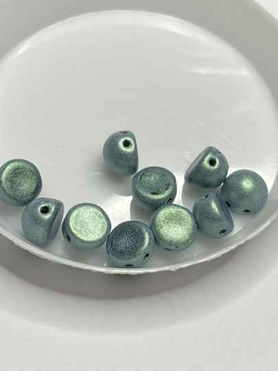 2 hole Cabochon 6mm Metallic Suede Light Green