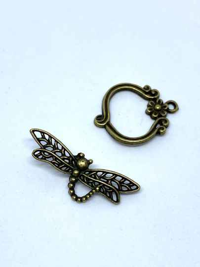 Toggle Clasp Dragonfly 33x13mm Bronze Tone