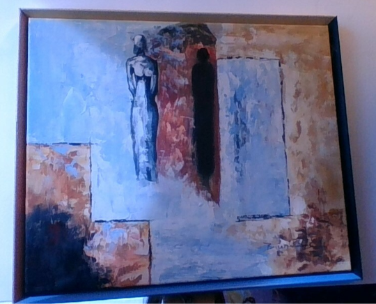 60 x 50 oil painting with colored frame
