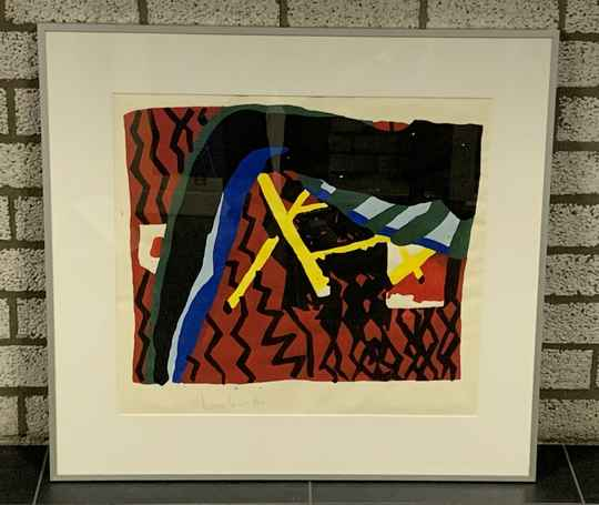 1241 - Nicolaas Maathuis - Abstract rood ( 75 * 80 incl. lijst)
