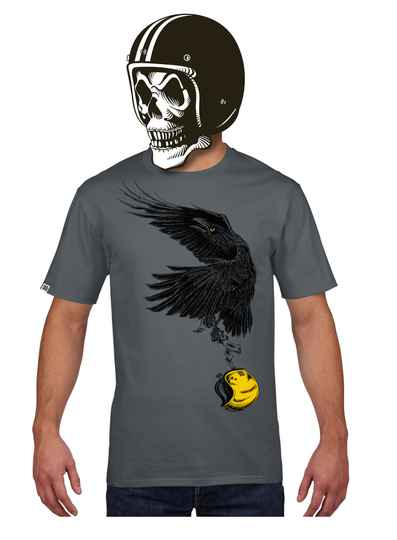FlakeKings charcoal grey tee with black and gold front print.