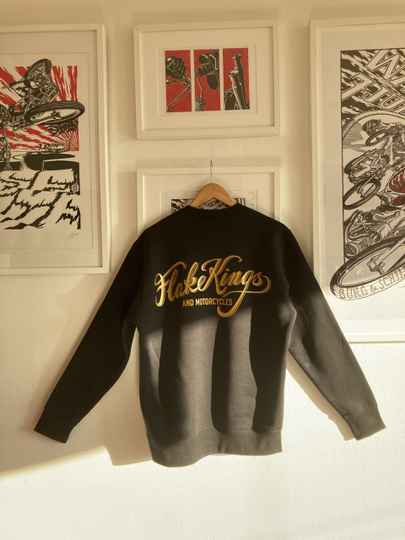 Flakekings high quality black sweater with gold back and front screenprint.