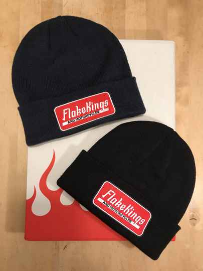 Black and Navy Blue beanie with FlakeKings and Motorcycles patch.