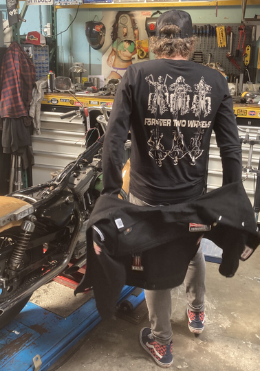 FlakeKings full black quality long-sleeve with discharge back print.