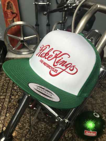 FlakeKings red embroidery, green-white snap-back classic trucker cap.