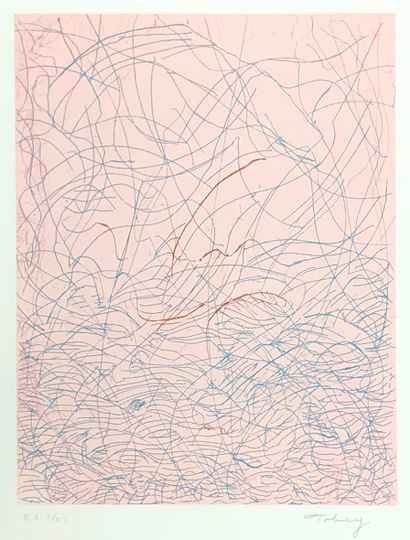 Mark Tobey Kleurenets 'Morning grass' 1975 Gesigneerd