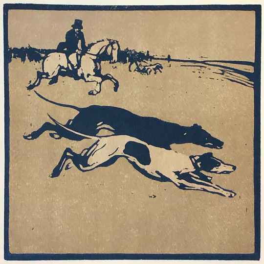 Sir William Nicholson Kleurenhoutsnede 'Coursing' 1898
