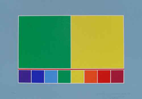 Waldo Balart Kleurenlithografie 1991 'Structure of light Green and Yellow'  Gesigneerd