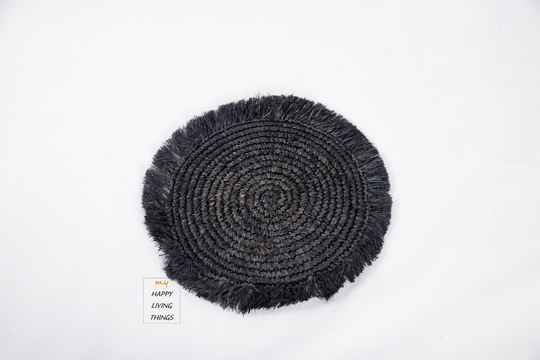 Woven Rafia Placemat Black. FREE DELIVERY !  GRATIS LEVERING !