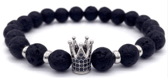 Silver Crown Trendy Armband | Lava Stone Armband | Trendy | Zilver Kroon Armband