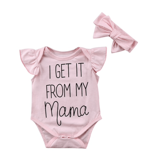 Rompertje I get it from my mama + haarband| Newborn babygirl - 3-6 mnd