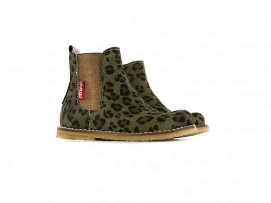 Shoesme - Booties crêpe green leopardo
