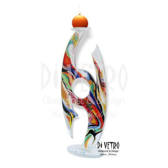 Glasfusing Object 'Ellipse' 001 - Multicolour Abstract