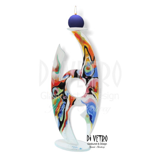 Glasfusing Object 'Ellipse' 002 - Multicolour Abstract