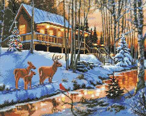 """CAK-XLED11 """"Highland Cabin"""" Framed LED Crystal Art Kit - 40 x 50 (With Special Effects)"""