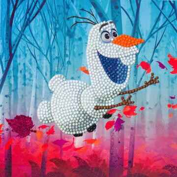 CCK-DNY801: Floating Olaf, 18x18cm Crystal Art Card