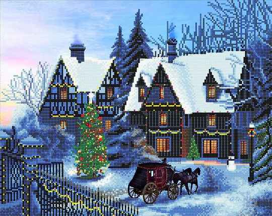 """CAK-XLED12 """"HOME FOR CHRISTMAS"""" FRAMED LED CRYSTAL ART KIT - 40 X 50 (WITH SPECIAL EFFECTS)"""