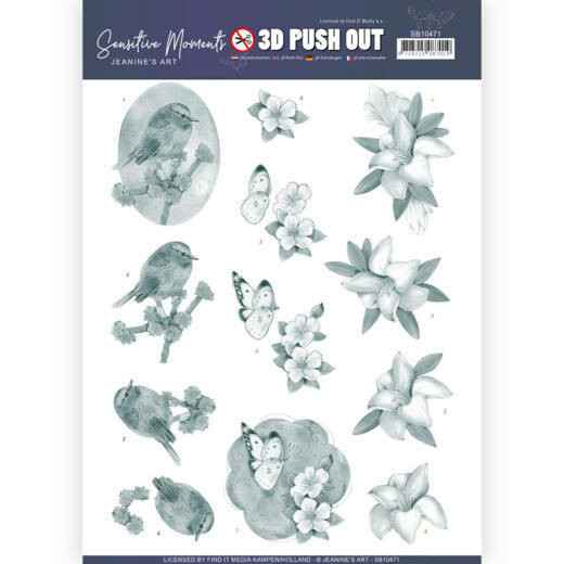 3D Push Out - Jeanine's Art - Sensitive Moments - Grey Lily