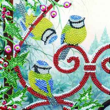CCK-XM91: Frosted Feathers, 18x18cm Crystal Art Card