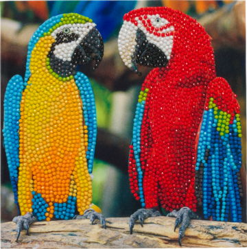 "CCK-A76: ""Parrot Friends"" 18x18cm Crystal Art Card"