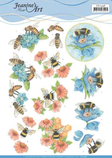 3D Cutting Sheet - Jeanine's Art - Bees and Flowers