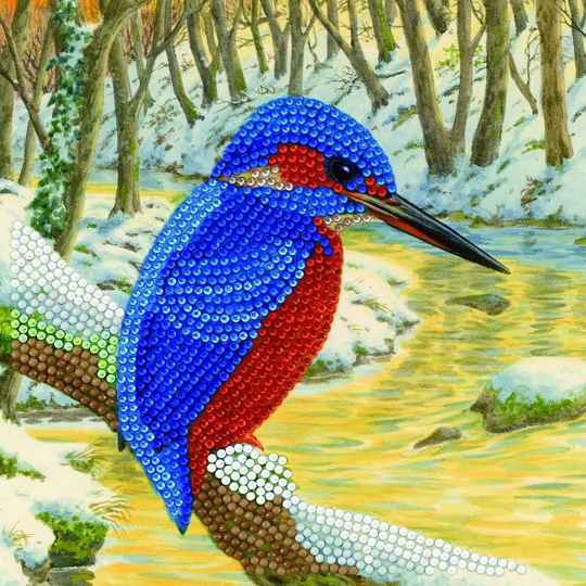 "CCK-A66: ""KINGFISHER"" 18X18CM CRYSTAL ART CARD"