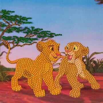 CCK-DNY802: Simba and Nala, 18x18cm Crystal Art Card