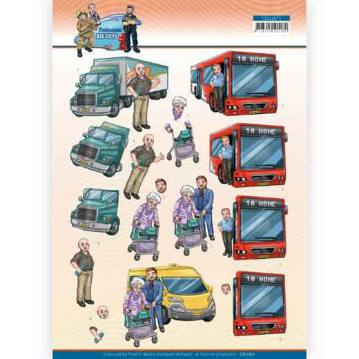 3D Cutting Sheet - Yvonne Creations - Big Guys Professions - Bus Driver