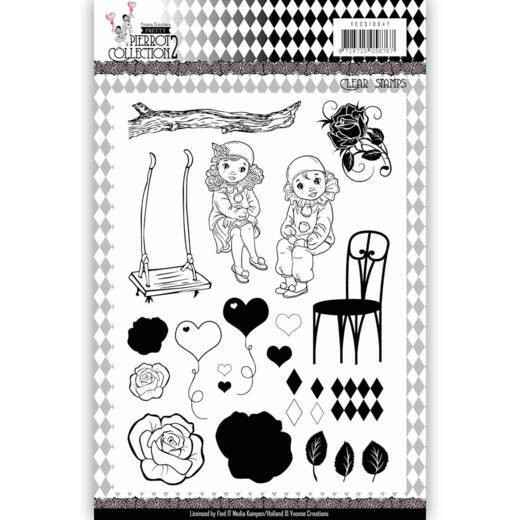 Clear Stamps - Yvonne Creations- Pretty Pierrot 2  Yvonne Creations