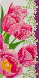 CCK-11x22C9: Pink Tulips, 11x22cm Crystal Art Card