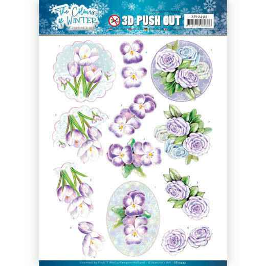 3D Push Out - Jeanine's Art - The colours of winter - Purple winter flowers