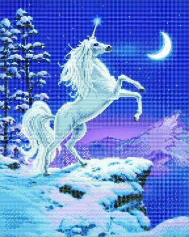 """CAK-XLED14: """"MOONLIGHT UNICORN"""" FRAMED LED CRYSTAL ART KIT - 40 X 50 (WITH SPECIAL EFFECTS)"""