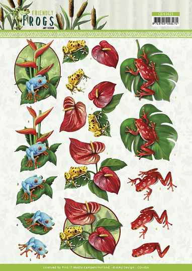 3D cutting sheet - Amy Design - Friendly Frogs - Poison Frogs