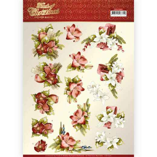 3D cutting sheet - Precious Marieke - Touch of Christmas - Red Flowers