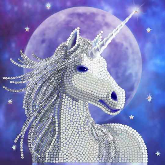 "CCK-A71: ""STARLIGHT UNICORN"" 18X18CM CRYSTAL ART CARD ANNE STOKES"
